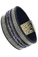Rhinestone Faux Leather Magnetic Bracelet