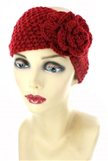 Dozen Assorted Color Flower Accent Knit Headwrap