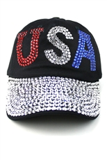Crystal Stone Embedded USA Cap