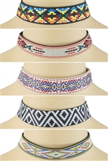 Dozen Assorted Color Tribal Choker Necklace