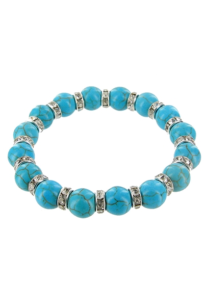 Dozen Assorted Color Turquoise Ball Stretch Bracelet