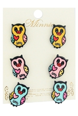 Dozen Assorted Color 3 Pair Owl Earring Set