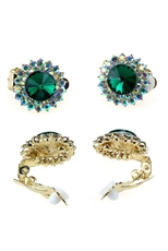 Dozen Assorted Color Rhinestone Clip on Earring