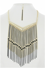 Multi Tone Chain Fringe Statement Necklace Earring Set