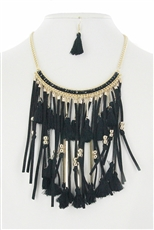 Tassel Fringe Statement Necklace Earring Set