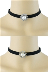 Dozen Assorted Color Pearl and Rhinestone Choker Necklace