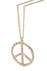 Dozen Assorted Color Rhinestone Peace Sign Pendant Necklace