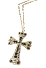Dozen Assorted Color Rhinestone Cross Pendant Necklace