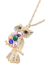 Dozen Assorted Color Rhinestone Owl Pendant Necklace