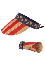 DZ Pack American Flag Roll Up Wide Brim Summer Beach Sun Visor Straw Hat