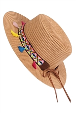 Women's Tribal Beach Sun Straw Hat