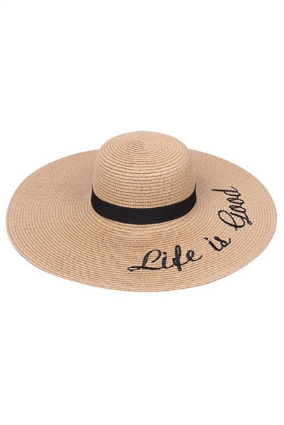 Womens Wide Brim Letter Embroidery Party Dress Beach Sun Straw Hat