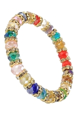 Dozen Assorted Color Glass Bead Stretch Bracelet