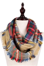 A Dozen Assorted Color Plaid Pattern Infinity Scarves