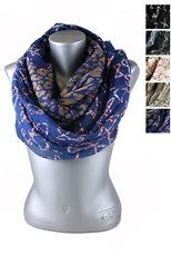 DZ Pack Assorted Color Multi Tone Leopard and Star Print Infinity Scarves