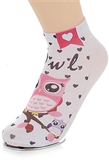 A Dozen Assorted Color Owl Print Socks