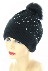 Dozen Assorted Color Crystal and Pearl Stud Accent Faux Fur Pom Beanies