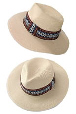 Womens Wide Brim Tribal Accent Party Dress Beach Sun Straw Hat