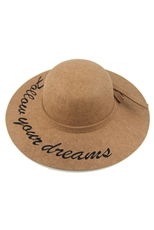 Wide Brim Letter Embroidery Floppy Hat