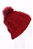 Dozen Assorted Color Fur Lining Pompom Cable Beanies