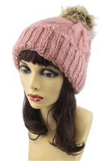 A Half DZ Pack Assorted Color Soft Fur Pompom Mohair Beanie