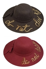 A Dozen Assorted Color Wide Brim Sequin Accent Letter Floppy Hat