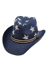 Star Print Straw Hat