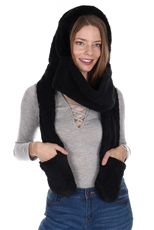 Soft Fur Hooded Scarf with Pockets
