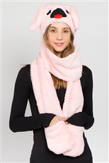 Soft Fur Rabbit Hat and Scarf