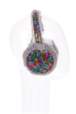A Dozen Assorted Color Sequin Accent Fur Earmuffs