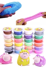 24-pc Assorted Color Soft Snow Mud Fluffy Slime Kit
