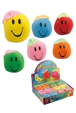 Dozen Assorted Color Smile Face Stress Toys with Hair