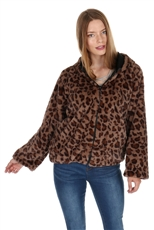 Soft Fur Leopard Hooded Cardigan