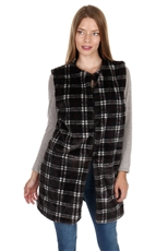 Soft Fur Plaid Long Line Vest
