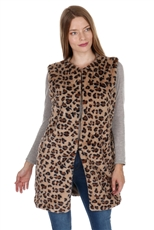 Soft Fur Leopard Long Line Vest