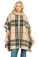 Plaid Pattern Hooded Poncho