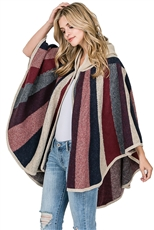 Stripe Pattern Hooded Poncho