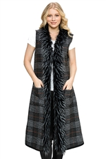 Plaid Pattern Soft Fur Collar Longline Vest