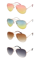 A Dozen Assorted Color Fashion Aviator Sunglasses