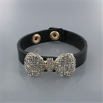 Rhinetone Bow Charm Leather Wrap Bracelet