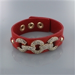 Rhinetone Embedded Metallic Chain Leather Wrap Bracelet