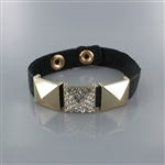 Rhinetone Embedded Pyramid Studs Leather Wrap Bracelet