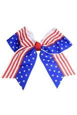 Dozen Assorted Color American Flag Bow Hair Clip