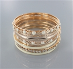 9pc Set Rhinestone Enamel Bangle
