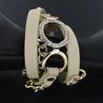 Rhinestone Charm Gold Chain Link Leather Wrap Bracelet