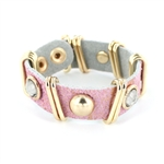 Acrylic/Metal Stud Leather Wrap Bracelet