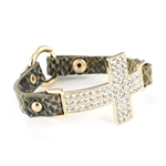 Rhinestone Cross Charm Leather Wrap Bracelet