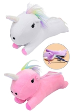A Dozen Assorted Color 3D Unicorn Plush Pencil Case
