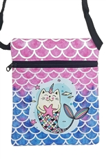 Dozen Assorted Color Mermaid Print Mini Messenger Bag