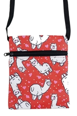 Dozen Assorted Color Llama Print Mini Messenger Bag
